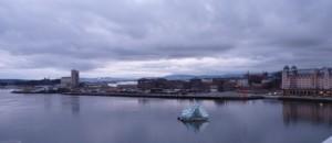 Ausblick vom Osloer Opernhaus, Abendstimmung