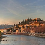 Beautiful view of Verona in late evening.